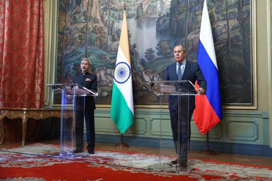 ПК С.В.Лаврова и С.Джайшанкара INDE avec Subrahmanyam Jaishankar, Ministre des Affaires étrangères de l'Inde, à l'issue de leurs pourparlers, Moscou, 9 juillet 2021