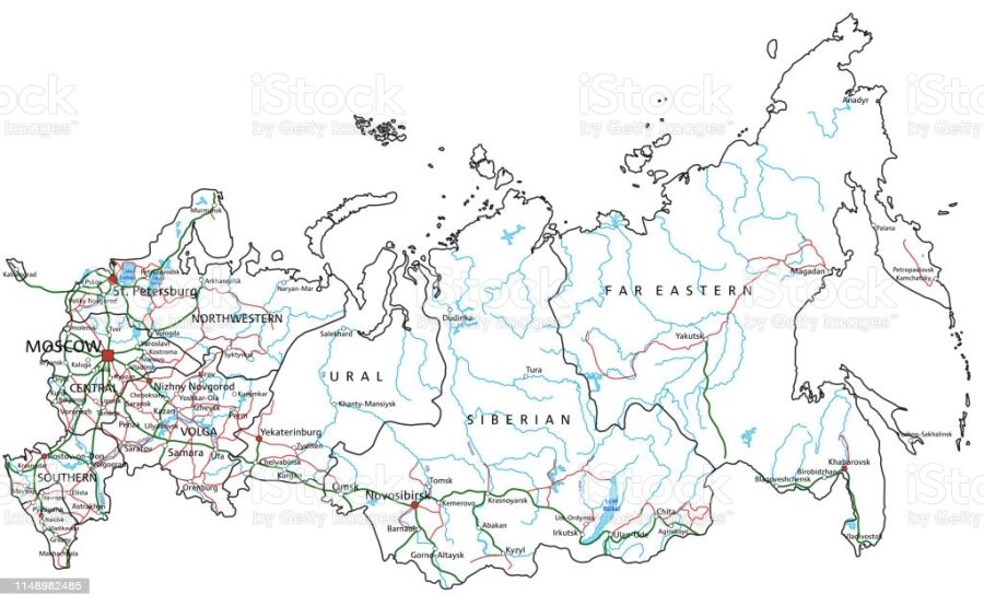 Russia road and highway map. Organized vector illustration on seprated layers.